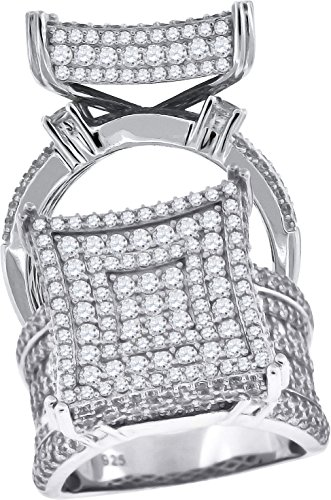 925 Sterling Silver Womens Cubic Zirconia CZ Size-9 Cluster Square Raised Head Fashion Band Ring by Saris and Things