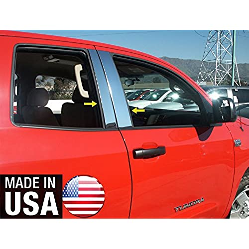 Made In USA! Works With 2007-2017 Toyota Tundra Double Cab/Sequoia 4PC Stainless Steel Pillar Post