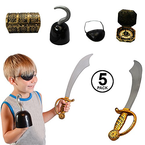 Pirate Accessories - 5 Pc Set - Pirate Hook - Pirate Sword - Pirate Treasure Chest - Pirate Toys by Funny Party (Treasure Chest Fancy Dress Costumes)