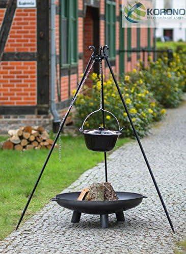 Korono Dreibein mit Edelstalschwenktopf Höhe 180 cm Handmade Gulaschtopf 10 L