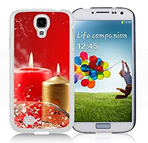 Galaxy S4 Case,Red Golden Christmas Snowflake Candles Christmas Series-TPU White S4 Protective Case,Samsung S4 I9500 Case