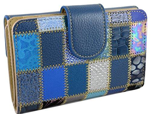 Handmade Grande Portefeuille Véritable Patchwork Cuir Femme Capacite Patchwork Spain Porte Bleu monnaie design in pTrpwqZ