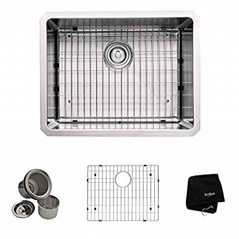 Kraus KHU101-23 23 inch Undermount Single Bowl 16 gauge Stainless Steel Kitchen Sink