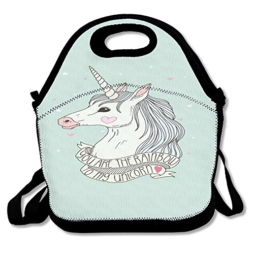 Unicorn Horse Fashionable Insulated Heating Polyester Shoulder Strap Women Men Kids Girls Black Lunch Bag Tote Purse For Travel Office