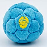 Best Hacky Sack and Footbag | No-Bust Stitching for Hard Kicking | 32 Panel Symmetry for Balance Tricks and Stalling | Professionally Hand-Stitched with Suede Material (Blue, Sand Fill)