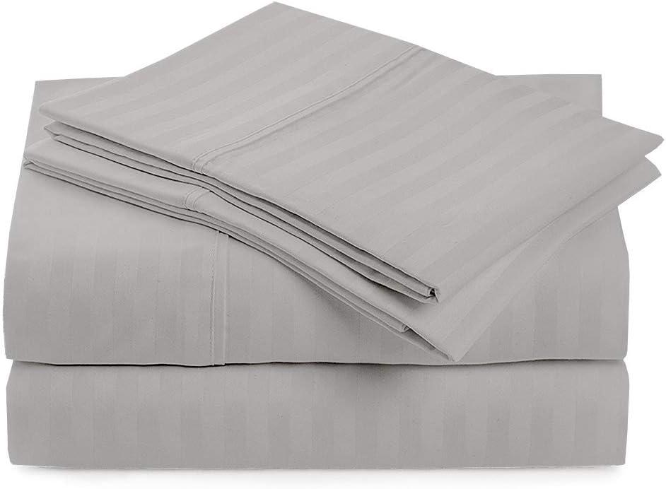 "Sleeper Sofa Bed Sheet Set -Sofa Bed Sheets- 100% Cotton - Sleeper Sofa Sheets 6 Inches, Sofa Sleeper Mattress Sheet-Sleeper Mattress Sheet-(60""x74""x6"") Queen Sofa Sleeper Sheets - Light Grey Stripe"