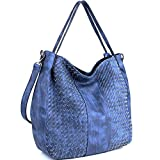 WISHESGEM Women Handbags Top-Handle Fashion Hobo Tote Bags PU Leather Shoulder Satchel Bags Blue