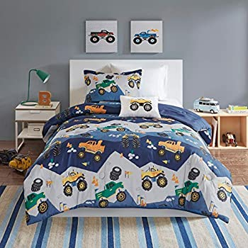 Amazon.com: MISC 3 Piece Blue Monster Truck Comforter Twin ...