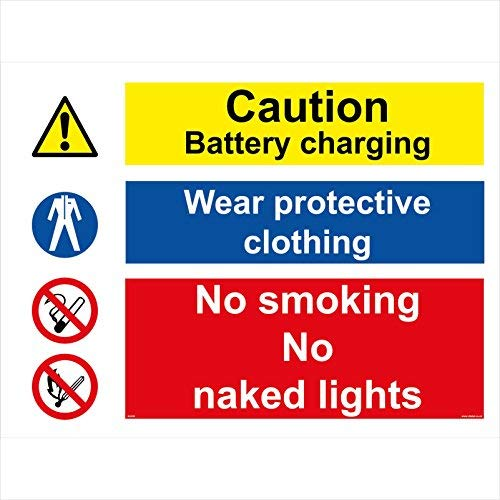 Multiple Sign Caution Batter Charging Wear Protective Clothing No Smoking No Naked Lights Signs Sign Stickers Vinyl Warning Stickers Notice Caution Sign Lable Decal 150Mm X 100Mm