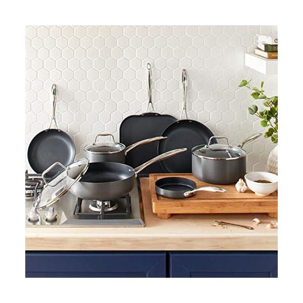 Amazon Brand – Stone & Beam Kitchen Cookware Set, 12-Piece, Pots and Pans, Hard-Anodized Non-Stick Aluminum 6