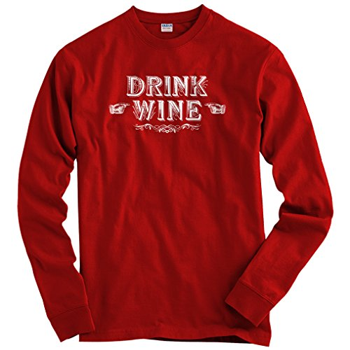 Smash Vintage Men's Drink Wine Long Sleeve T-Shirt - Dark Red, XXX-Large (Tempranillo Wine Rioja Red)