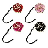 Bycws Foldable Instant Handbag Purse Hanger Hook for Table Rose Theme Hooks