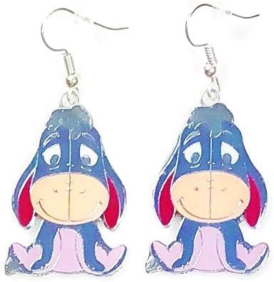 Disney inspired WINNIE THE POOH Metal Enamel Character Drop Dangle Hook Earrings With Gift Box
