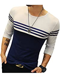 """<span class=""""a-offscreen"""">[Sponsored]</span>Mens Cotton Fitted long-Sleeve Contrast Color Stitching Stripe T-Shirt"""
