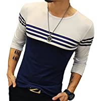 Logeeyar Mens Cotton Fitted long-Sleeve Contrast Color Stitching Stripe T-Shirt