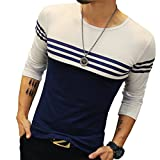 Logeeyar Mens Cotton Fitted long-Sleeve Contrast Color Stitching Stripe T-Shirt (White S)