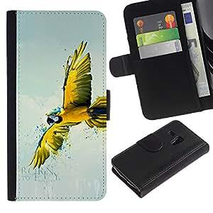 LASTONE PHONE CASE / Lujo Billetera de Cuero Caso del tirón Titular de la tarjeta Flip Carcasa Funda para Samsung Galaxy S3 MINI NOT REGULAR! I8190 I8190N / Parrot Yellow Flying Art Rainforest Blue Sky