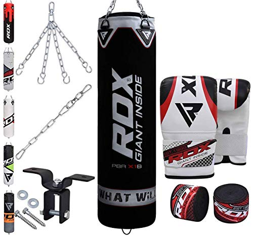 (RDX Punching Bag Filled Set Kick Boxing MMA Heavy Muay Thai Training Gloves Punching Mitts Hanging Chain Anchor Ceiling Hook Martial Arts 4FT)