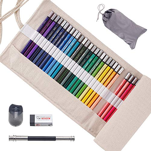 Scriptract Colored Pencils 48 Count Set, Oil Based Colored Pencils Artist Quality with Canvas Roll Wrap Extender Sharpener Eraser, Perfect for Adults Coloring & Kids Drawing, Pre-sharpened (48Colors)