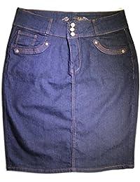 "Women Uniform Twill Plus Size Stretch Knee High Length Denim Skirt 24"""