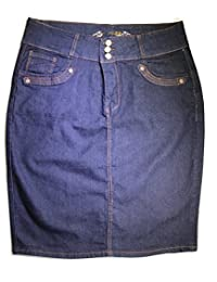 No Fuze Women's Stretch Knee High Length Plus Denim Skirt 24""