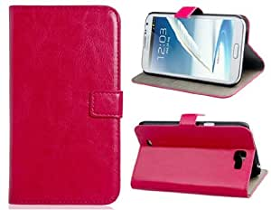Faux Leather Stand Flip Case with Magnetic Closure for Samsung Note 2 (Rose Red)