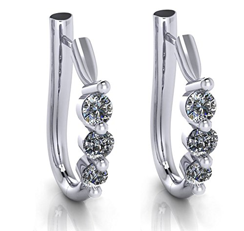 1.10 ct Ladies Round Cut Diamond Hoop Huggie Earrings by Madina Jewelry (Image #5)