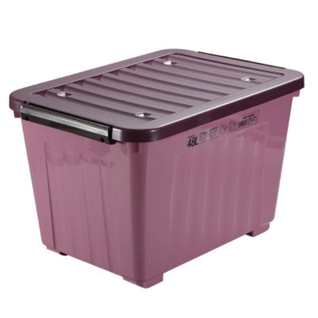 Summerys プラスチック中小カバー付き収納ボックス、ホームデパート、プラスチック収納ボックス (Color : Purple medium) B07Q1W5LWK Purple medium