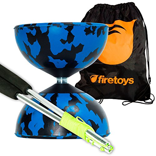 Harlequin Diabolos Set, Metal Diabolo Sticks, Diablo String & Bag (Blue & Black)