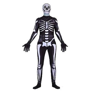 Glueckme Skin Kostum Fortnite Schadel Trooper Halloween Kostume 3d Style Ganzkorperanzug Fur Unisex Erwachsene Kinder Jugendliche Kind L