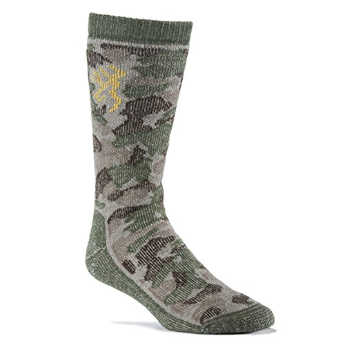 Browning Men's Wool Blend Green Camo Crew Socks (Single Pair)