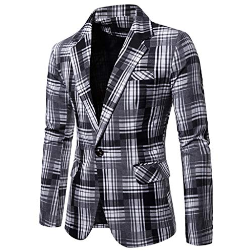 KASAAS Blazer for Men Plaid One Button Suit Long Sleeve Turn Down Collar Casual Simple Sport Jacket Tops(X-Large,White) -