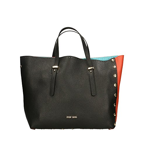 Made main en Italy Noir Bags POP à véritable Cm Sac Corail Dollar in cuir Impression 34x31x15 femme Noir tq8SC