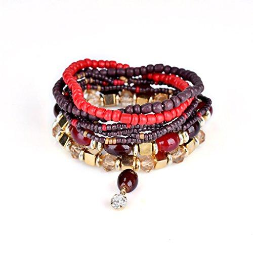 Bohemian Crystal Gem Colorful Stretch Bead Multilayer Bracelet Stack of 6 for Women