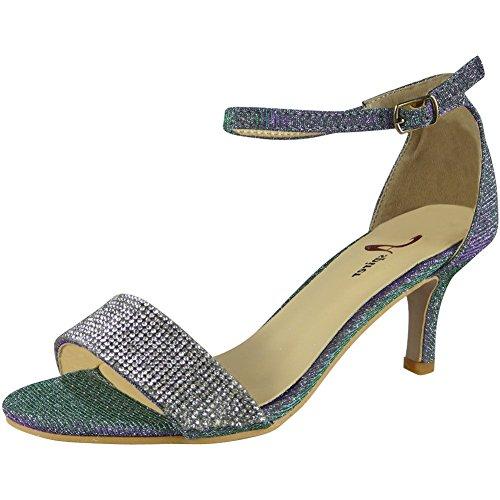 Loud Look Womens Diamante Peeptoe Sandals Heels Ladies Wedding Bridesmaid Bridal Shoes SIZ 3-8 Purple ZYA0fgej7