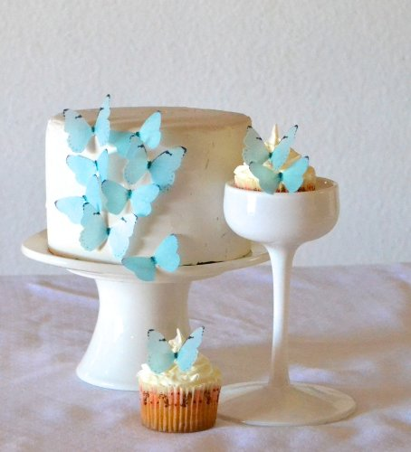 Price comparison product image Edible Butterflies © - Small Pastel Blue Set of 24 - Cake and Cupcake Toppers,  Decoration