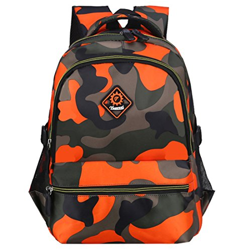 Macbag School Backpack Casual Daypack Travel Outdoor Camouflage Backpack for Boys and Girls (Camouflage Orange 4) (Best Backpacks For Boys)