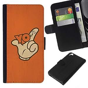 KLONGSHOP // Tirón de la caja Cartera de cuero con ranuras para tarjetas - Gesto de mano del pulgar del dedo lema del cartel - HTC Desire 820 //