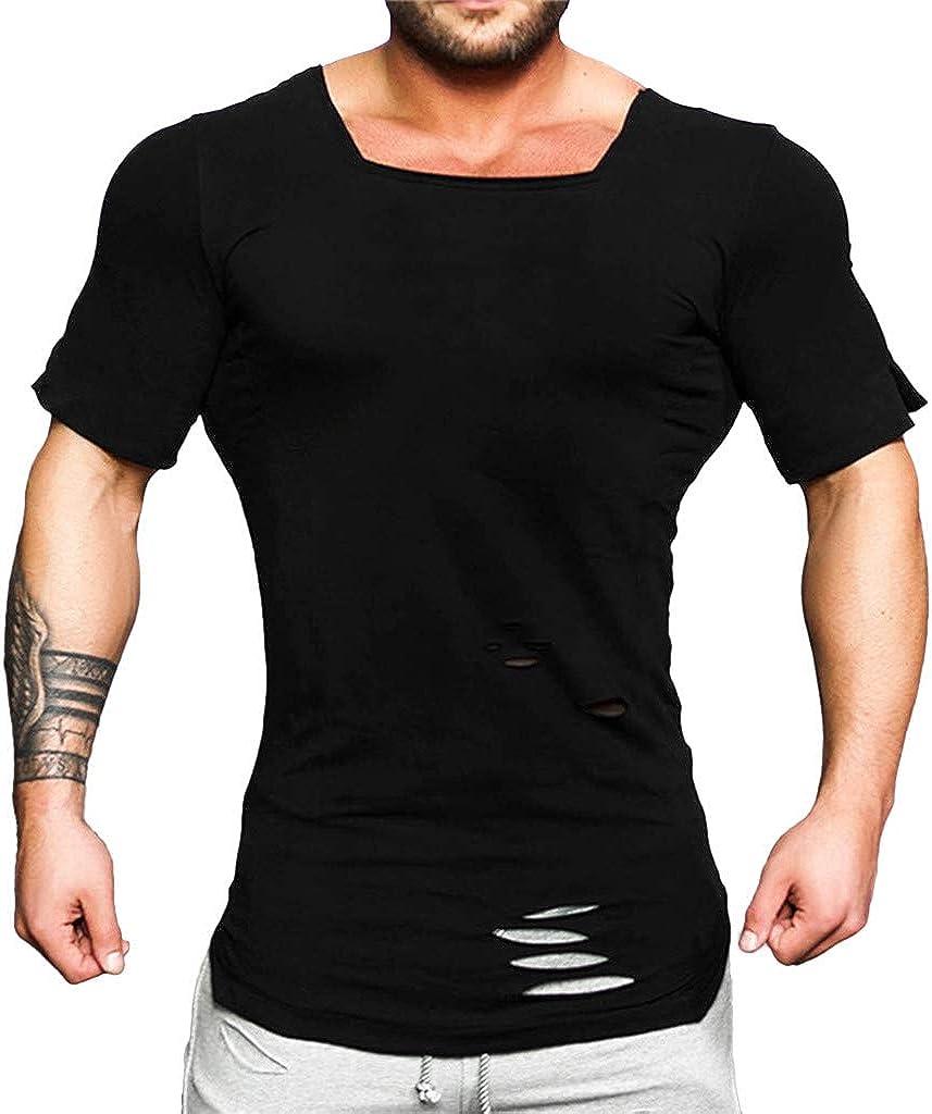 SANGQU Mens U Neck Short Sleeve Tops Fashion Ripped Tight Stretch Sport T-Shirt