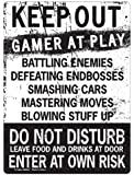 KEEP OUT Gamer At Play ENTER At Own Risk Funny Novelty Tin Sign by kalan