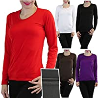 ToBeInStyle Women's Crew Neck Fleece Lined Long Sleeve Thermal Tops