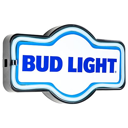 Bud Light Budweiser Bar - Reproduction Vintage Advertising Marquee Sign - Battery Powered LED Neon Style Light - 17 x 10 x 3 Inches