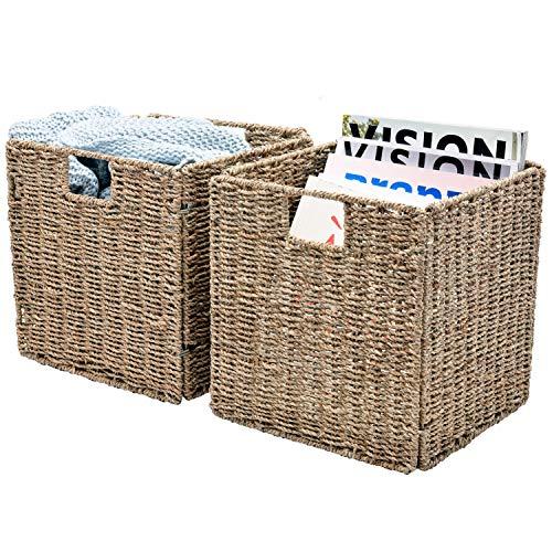 StorageWorks Hand-Woven Seagrass Baskets, Foldable Wicker Storage Baskets Organizer, Large, 11.8