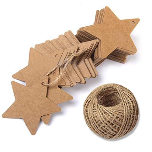 (Star Gift Tags with String Kraft Paper Blank Gift Wrap Tags 100 Pcs Wedding Crafts Tags With 100 Feet Jute Twine)