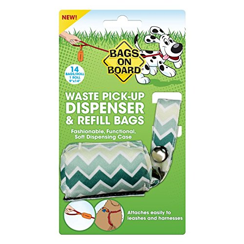 Bags on Board Dog Poop Bags Dispenser with 14 Refill Bags | Attaches to Most Leashes Bags On Board Plastic Leash