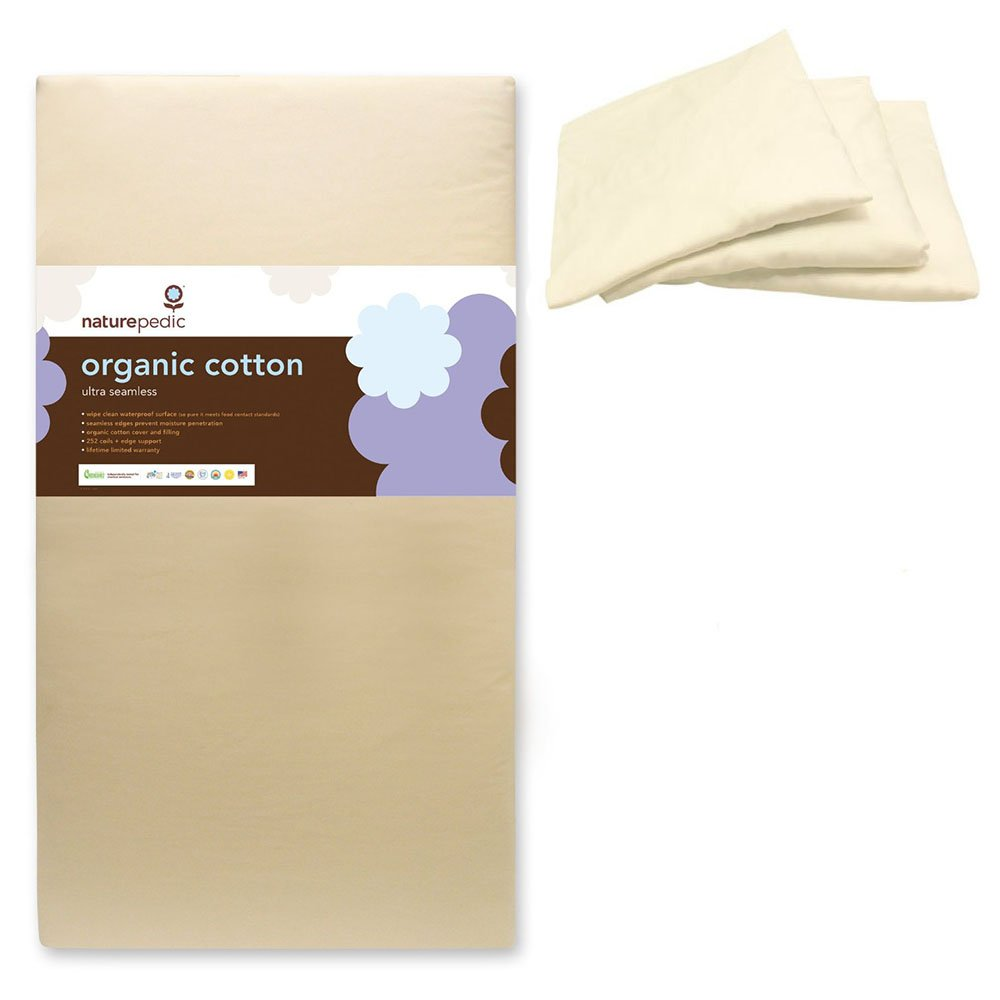 Naturepedic Organic Cotton Ultra 252 Seamless Crib Mattress w 3 Pack Organic Cotton Crib Fitted Sheet, White
