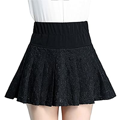 AZHONG Women's High Waist Flared Pleated Mini Stretchy Skater Skirt