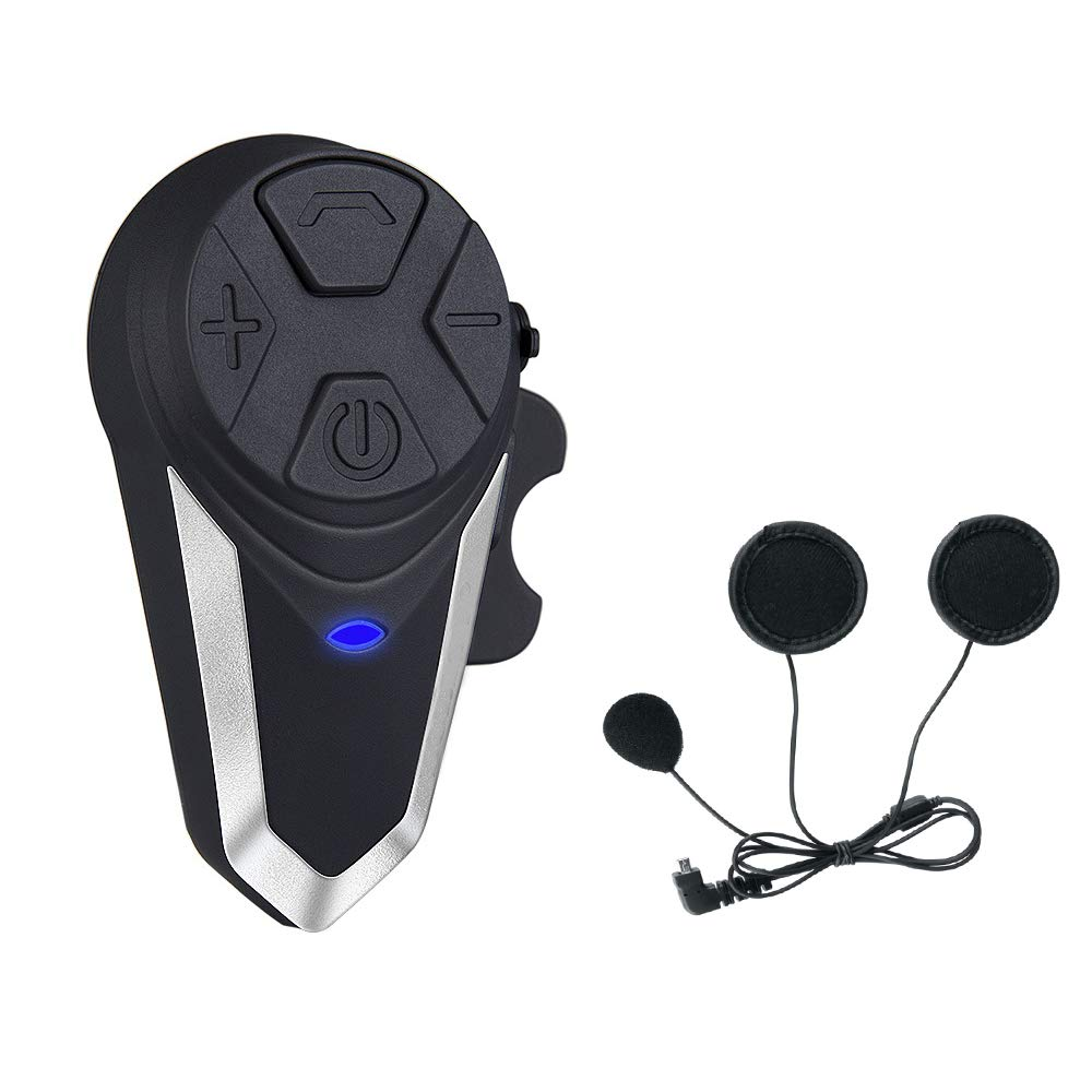 Intercom Moto BT-S3 Casque Moto Bluetooth Interphone Oreillette Radio FM Etanche Moto Bluetooth Intercom Kit (1 Piece of Hard Headset) Fodsports