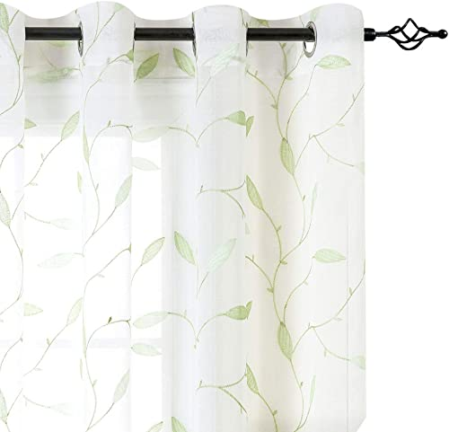 White Leaf Sheer Curtains for Living Room Curtains Grommet Top Floral Leaf Embroidery Voile Sheer Curtains 63 L for Bedroom Embroidery Window Curtains 2 Panels