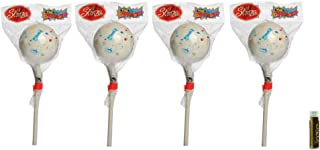 "product image for JUMBO JAWBREAKER 4 Pack (1 lb) Sconza 2 1/4"" The Big Bruiser Jawbreaker on a Stick Individually Wrapped with a Jarosa Chocolate Bliss Lip Balm by Jarosa"